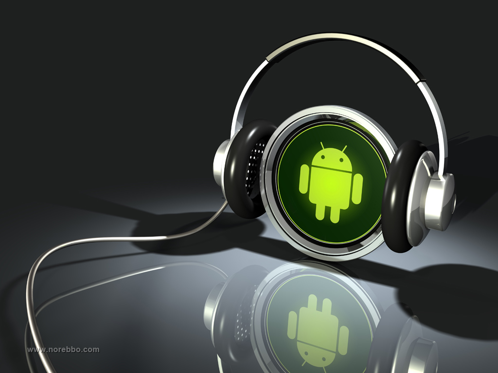 3D green Android logo with headphones