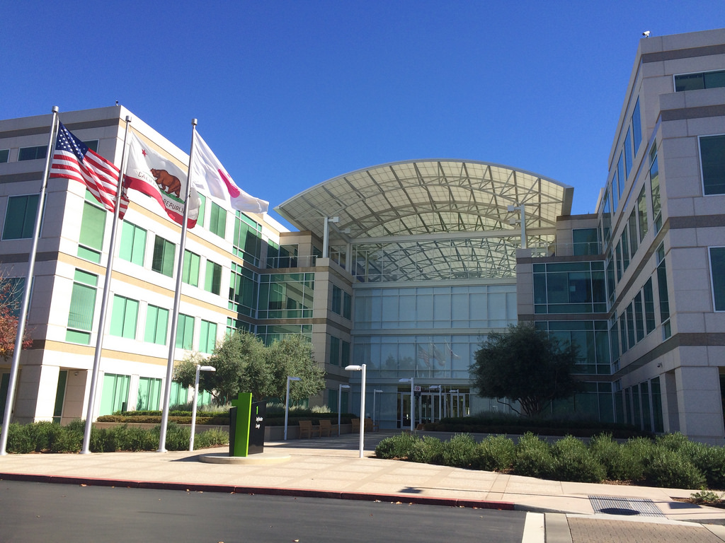 Apple headquarters at Infinite Loop 1 in Cupertino, California