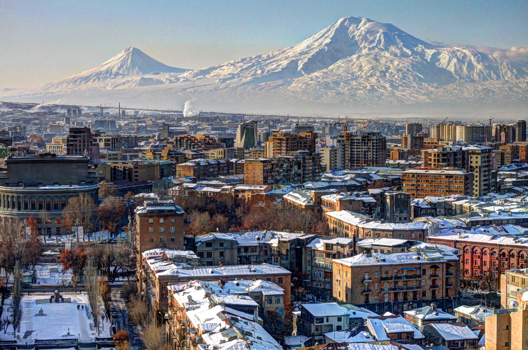 Winter view of Yerevan, Armenia