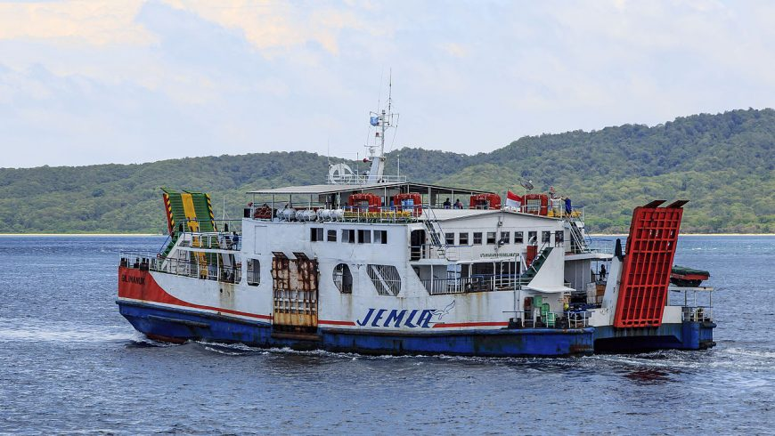 "The ferry ""KMP Gilimanuk"" in the Bali Strait between Banyuwangi and Gilimanuk, Indonesia."