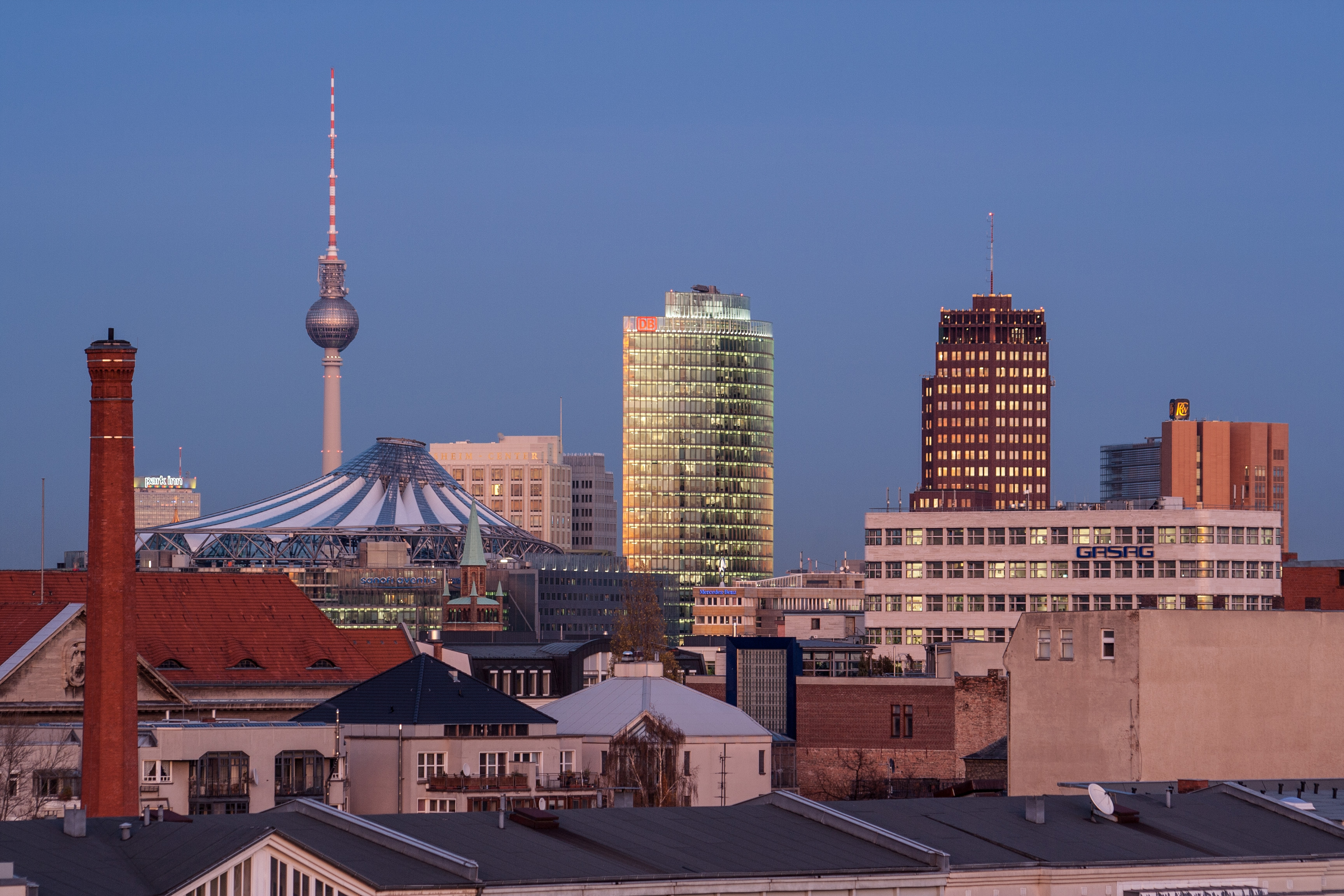 Potsdamer Platz and a television tower in Berlin, Germany