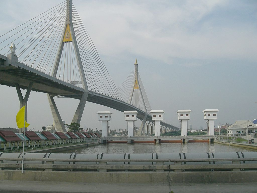 The Bhumibol Bridge over the Chao Phraya River in Samut Prakan