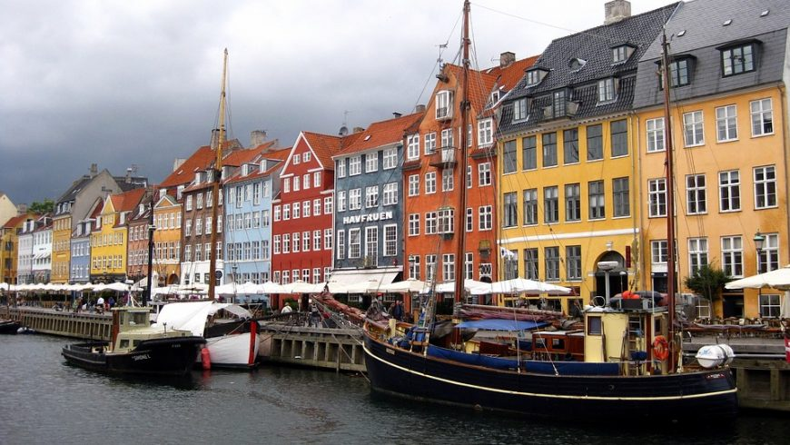 Picturesque houses in Nyhavn District of Copenhagen, Denmark