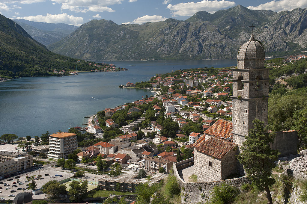 The church and Kotor bay in Montenegro