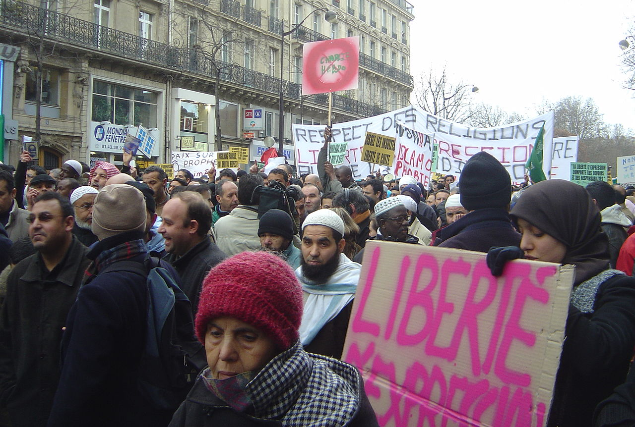 Muslims and leftists protest in Paris against the publication of caricatures of Muhammad