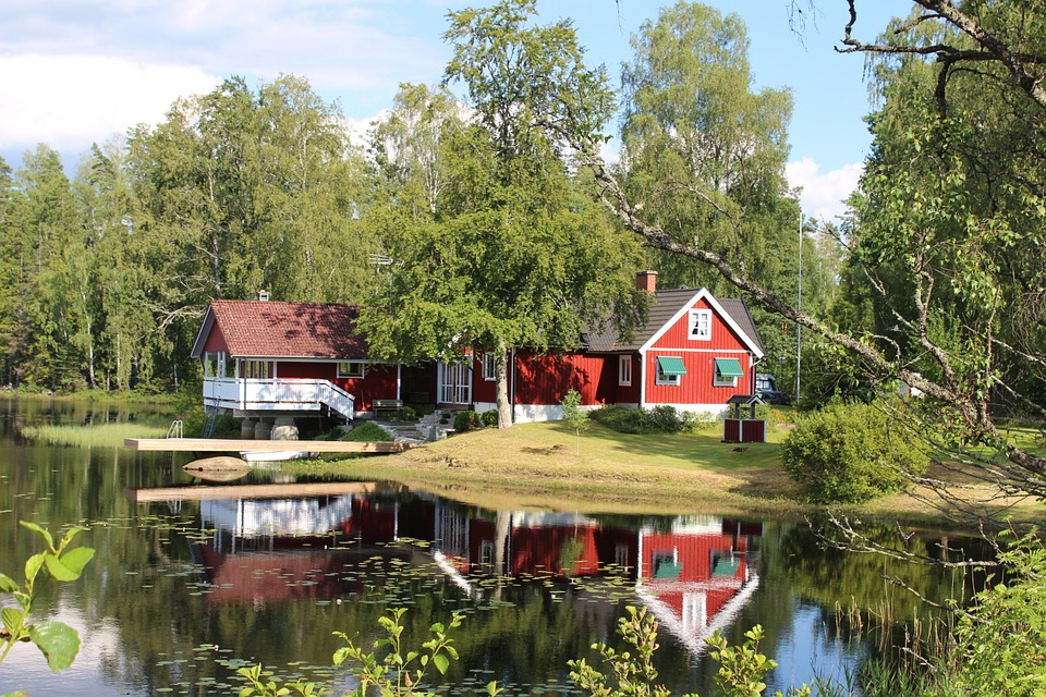 Home near a lake in Sweden