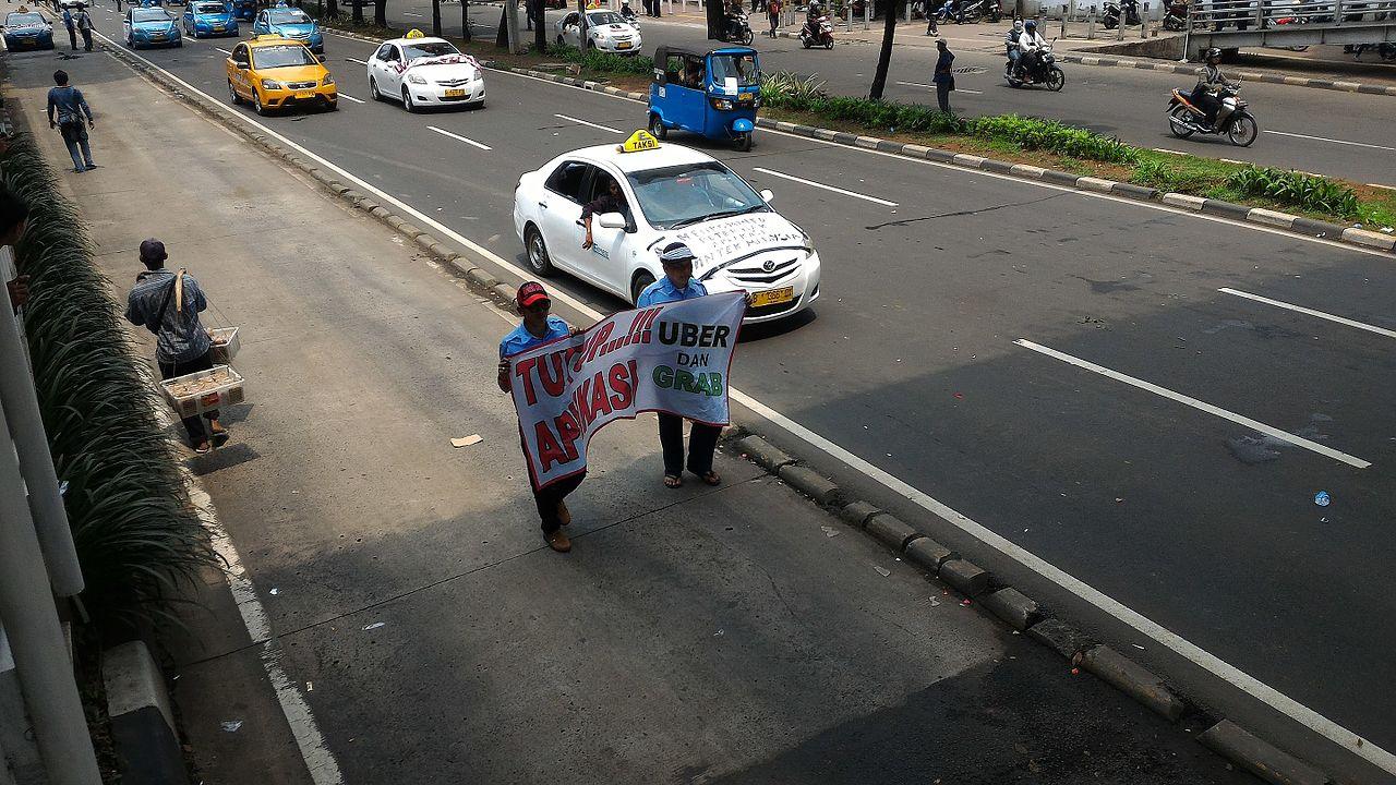 Demonstration to protest online based transportation in Jakarta, Indonesia