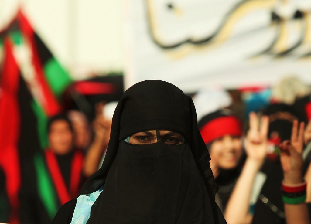 Libyan girl wearing a niqab
