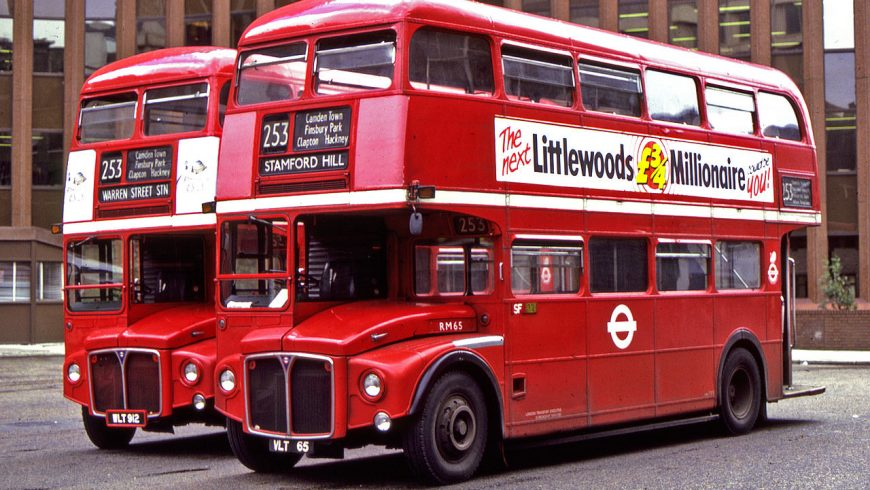 AEC Routemasters buses at Aldgate bus station in London