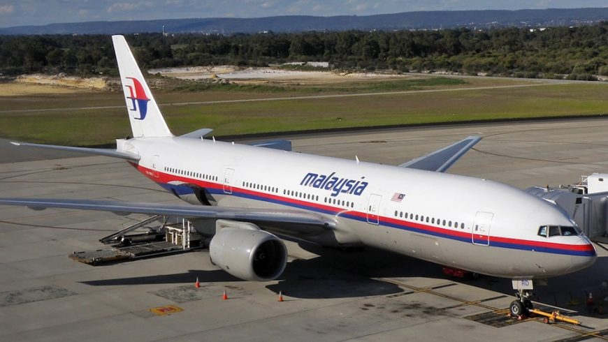 Malaysia Airlines Boeing 777-2H6-ER (9M-MRD) at the international terminal at Perth Airport.