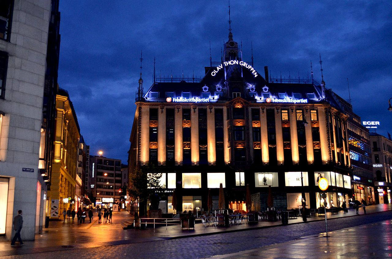 Karl Johan Gate at Night in Oslo