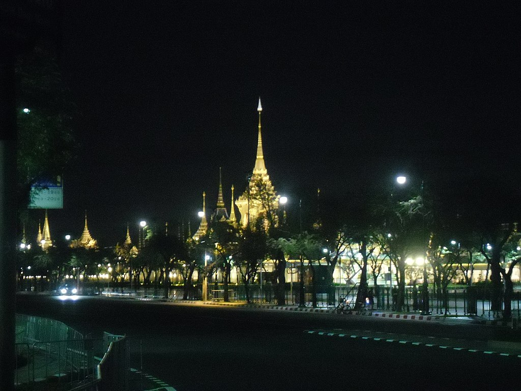 The Royal crematorium of King Bhumibol Adulyadej at night