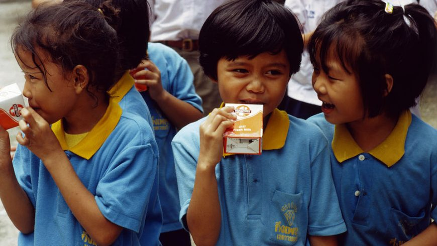 Children drinking milk at kindergarten