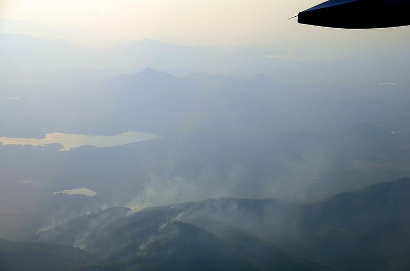 Smoke coming off from several wildfires in the mountains of northern Thailand