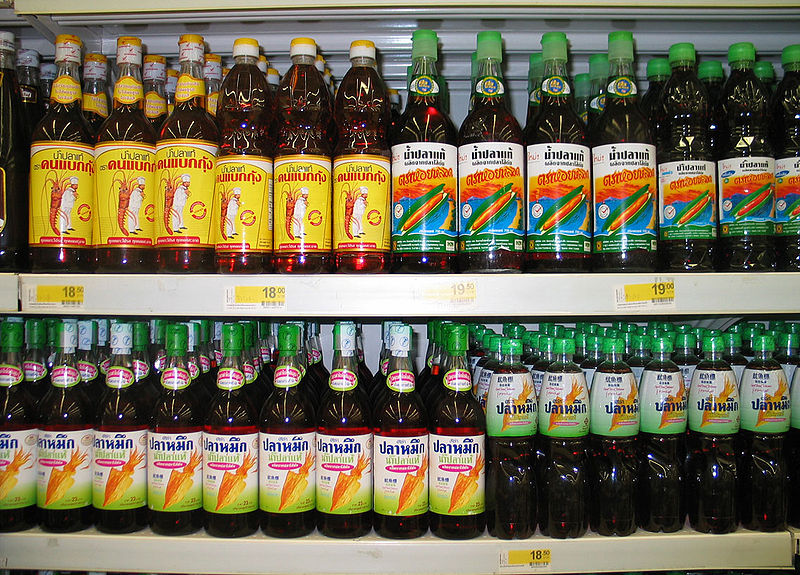 Thai fish sauce in a supermarket