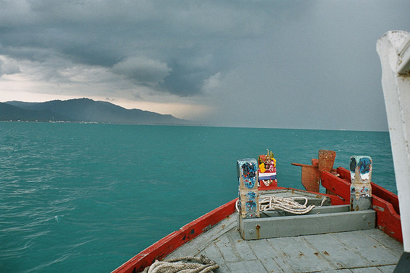 Tropical thunderstorm approaching, near Koh Samui Island, Surat Thani