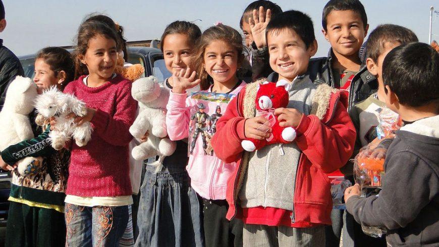 Yazidi children. Defend International and its supporters provided humanitarian aid to Yazidi refugees in Kurdistan region, Iraq