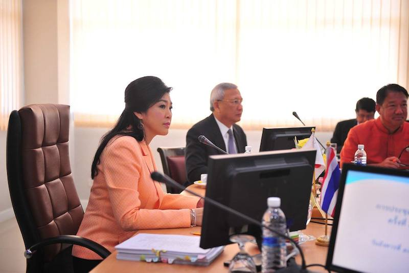 Former Thai PM Yingluck Shinawatra during a conference
