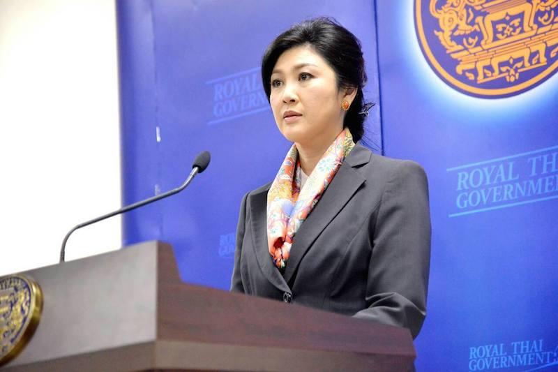 former Thai PM Yingluck Shinawatra speaking
