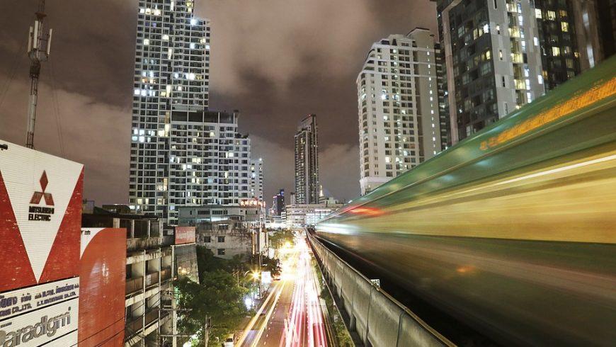 Bangkok Skytrain at night