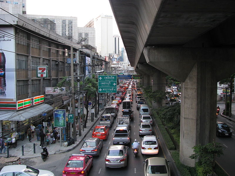 Traffic jam in Sukhumvit Road