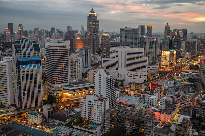 Aerial view of Pathum Wan in Bangkok