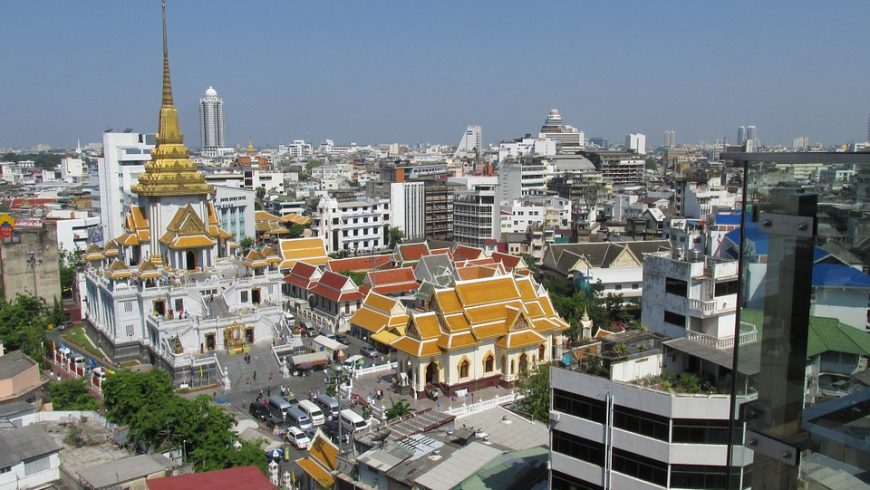 Buddisht temple and Bangkok skyline