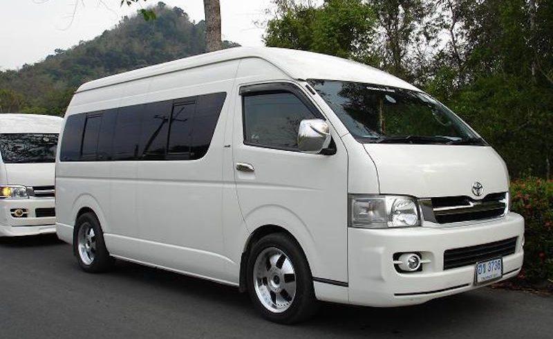 White Toyota minivan in Thailand
