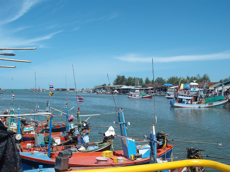 Thai fishing boats on a port