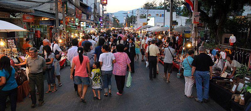 Sunday evening walking street market on Rachadamnoen road