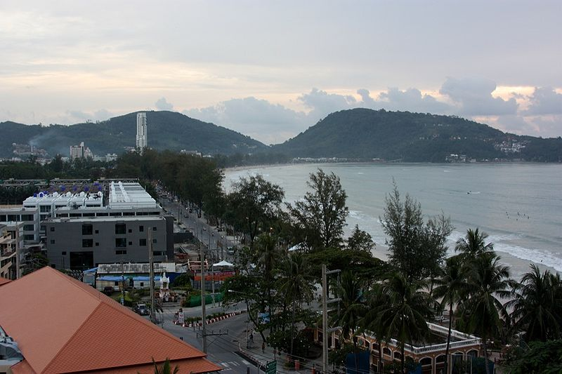 View of the beach and buildings in Phuket Island