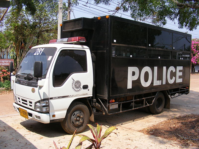 Isuzu NKR Prisoner transport vehicle of the Royal Thai Police, at Na Wa Police station, Thailand