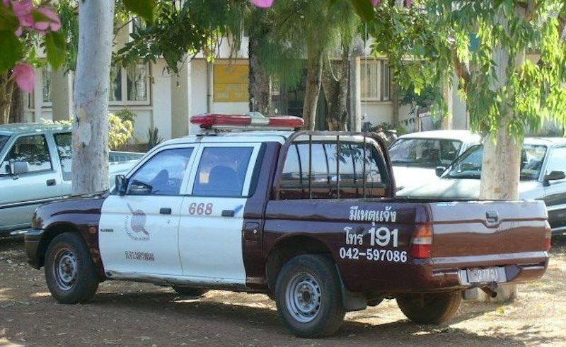 Rural Royal Thai Police pick up truck in Na Wa, Nakhon Phanom province