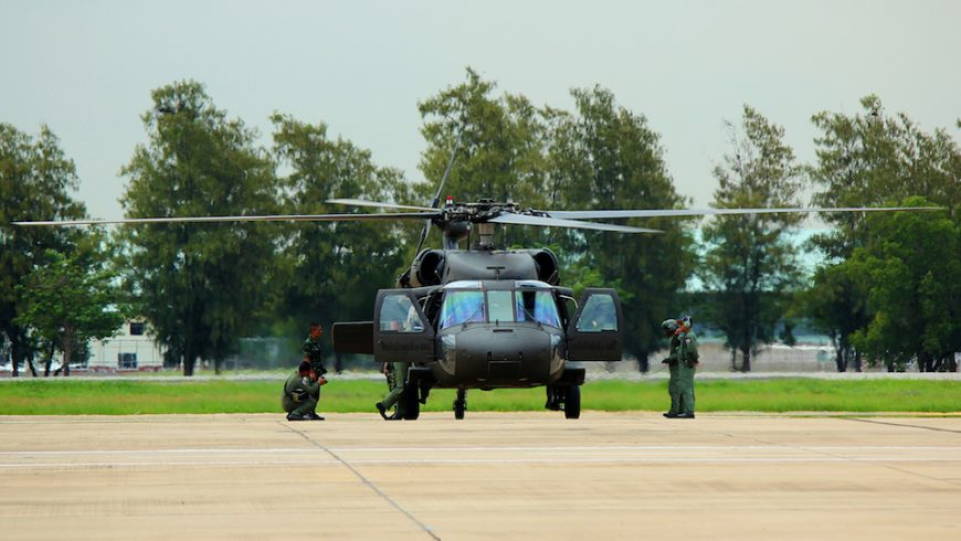 Black Hawk helicopter during air show at Don Mueang