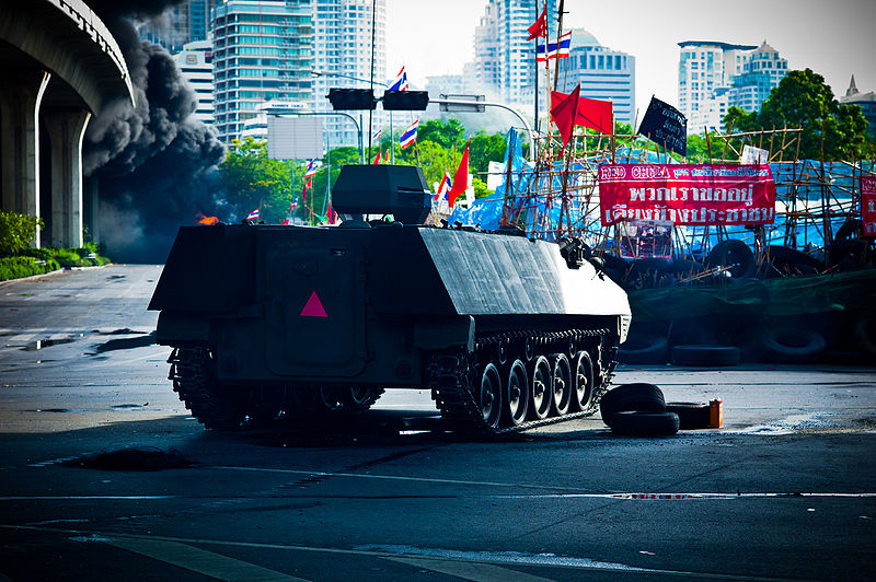 Armored car prepares to assault the Red Shirt barricade near Chulalongkorn Hospital in Bangkok