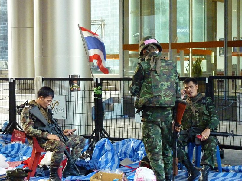 Thai Army soldiers enlisted to assist police defending sites from protesters