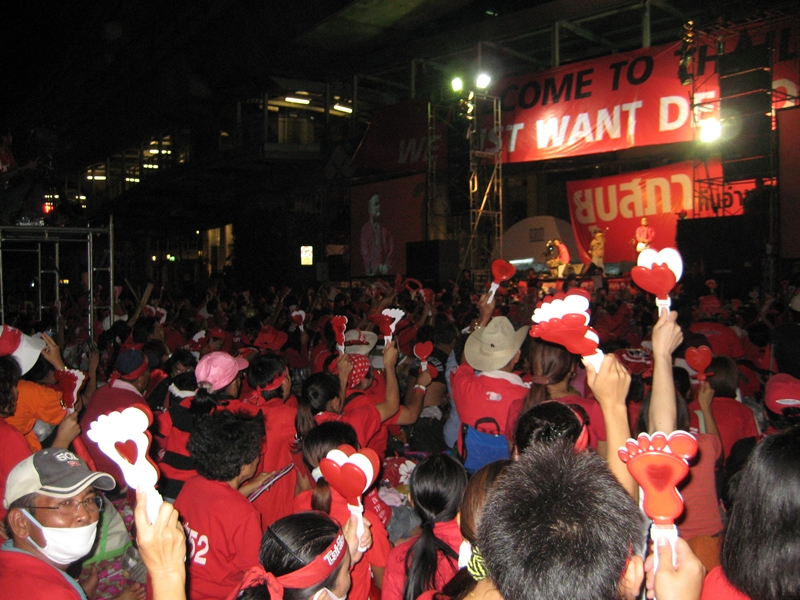 Redshirt Leader Jatuporn Prompan delivers a speech during a UDD protest in Bangkok on 6 April 2010