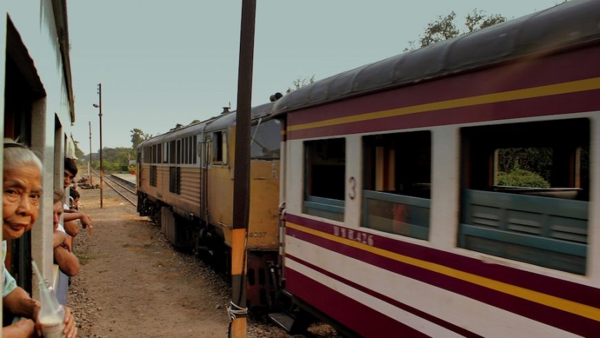 Train at railway station in Thailand