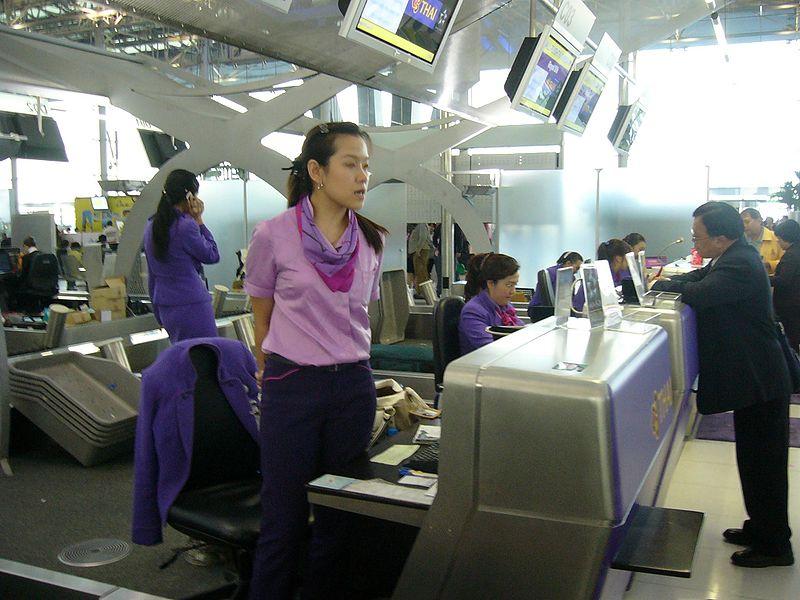 Thai Airways check-in counters at Suvarnabhumi International Airport, Bangkok