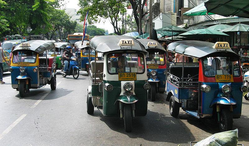 Tuk tuks in front of Pak Klong Market, Bangkok